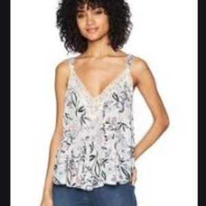 Free People Lace Trim Camisole Deep V-neck